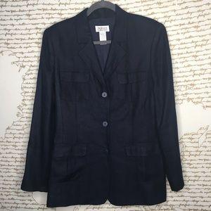 Style & Co Collection Sz 12 Navy Linen Blazer A161